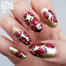 beauty and the beast roses nail art u2013 cmy nails