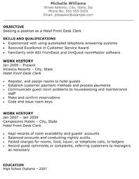sample front desk resume unforgettable front desk clerk resume