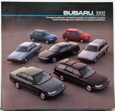 1992 subaru loyale subaru svx legacy loyale justy color sales brochure original