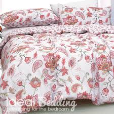 paisley painted coral duvet quilt bedding cover and pillowcase