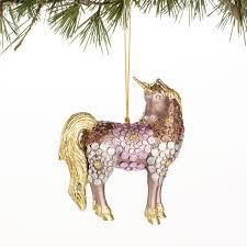 purple flower unicorn papyrus signature ornament