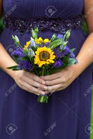 Sunflower Wedding Bouquet Bridesmaid In Purple With Sunflower Wedding Bouquet Stock Photo