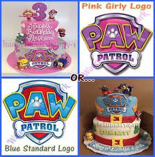 PAW PATROL LOGO PINK OR BLUE EDIBLE ICING SHEET BIRTHDAY CAKE