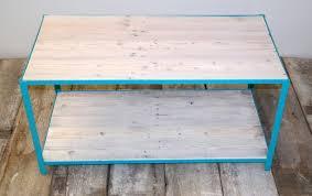 White Wash Coffee Table - pallet wood and steel coffee table coastal blue u0026 whitewash aftcra