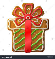 gingerbread christmas gift decorated colored icing stock vector