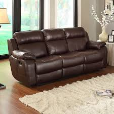 faux leather reclining sofa shop homelegance marille casual dark brown faux leather reclining