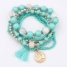 beaded elastic bracelet images Multilayer beads elastic bracelet proud girl jpg