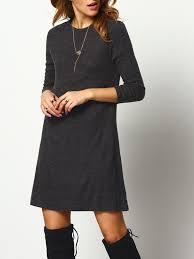 dark grey crew neck casual sweater dress