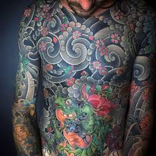 full chest guys japanese flowers in the wind tattoo designs