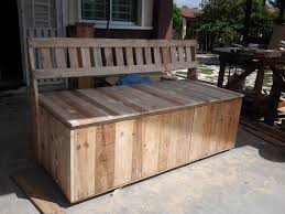 Pallet Garden Decor Outdoor Bench Storage Treenovation Intended For With Decor Pallet