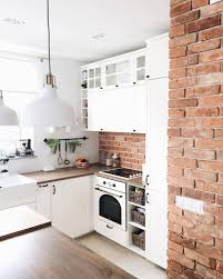kitchen thin brick wall brick tile backsplash faux brick tile