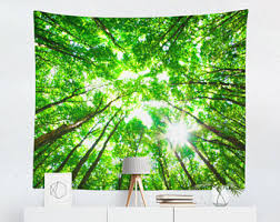 green wall decor forest wall tapestry etsy