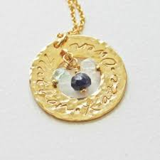 mothers necklace with birthstones family circle washer necklace with 3 kids names and birthstones
