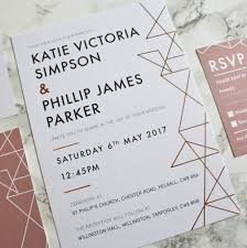 Foil Wedding Invitations Geometric Copper Foil Wedding Invitations Designed By Rodo Creative