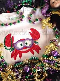 mardi gras crab applique embroidery cute by kira