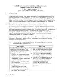 audit procedures and internal control questionnaire cost