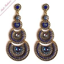 Chandelier Earrings Bridal Antique Gold Royal Blue Bridal Chandelier From Madzfashionzuk On