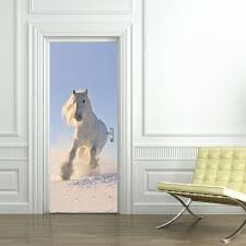 compare prices on horse door mural online shopping buy low price white horse self adhesive wall stick imitation 3d door sticker kid s room living room mural