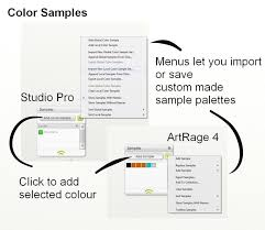 setting up custom color palettes artrage