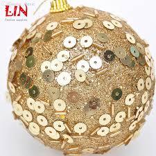 wholesale christmas tree ornament glued sequins pendant 8cm golden