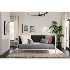 dhp soho white metal with black linen modern twin daybed free