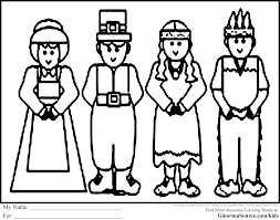 thanksgiving coloring pages pilgrims and americans coloring