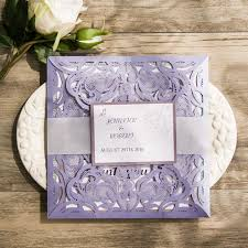 lavender wedding invitations lavender butterfly silver and glitter laser cut wedding invitation