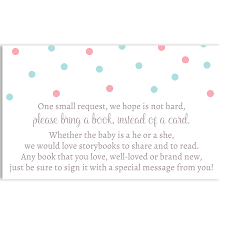 bring a book instead of a card baby shower he or she white bring a book insert the invite
