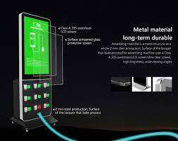 phone charging station kiosk with digital advertising cell phone