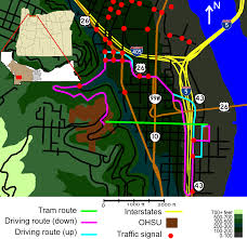 Portland Traffic Map by File Portland Aerial Tram Roads And Route Png Wikimedia Commons