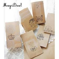 brown wrapping paper 6pcs vintage clear stickers brown kraft paper bags gift lunch