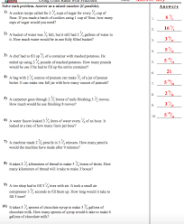 4th Grade Math Worksheets With Answers Unit Rates With Fractions Worksheet Answers Nms Self Paced Math