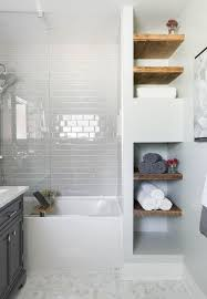 Bathroom White Shelves Rustic Bathroom With Wood Shelving White Subway Tile Mosaic