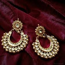 chandbali earrings kundan chandbali earrings with golden pearls