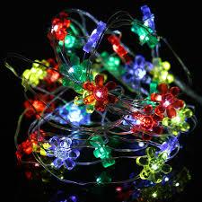 christmas tree flower lights 2m 20led holiday led string light sun flower shape button battery
