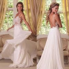 flowy wedding dresses cheap flowy wedding dresses 2015 sheer straps v neck lace