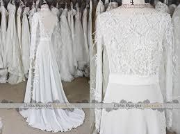 long sleeve split wedding dress casual illsuion lace wedding