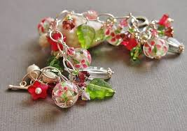 glass bead bracelet charms images Floral charm bracelet lampwork glass bead bracelet pearl jpg