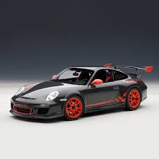 black porsche gt3 porsche 911 997 gt3 rs grey black u0026 red stripes autoart