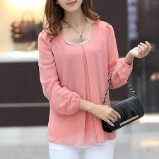 korean fashion women u0027s loose chiffon tops long sleeve shirt casual