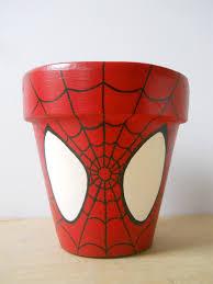 spiderman marvel superhero comic book painted flower pot spider
