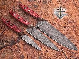 custom made kitchen knives amazon com 1046 custom made damascus steel kitchen chef knife set
