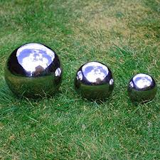 set of three stainless steel spheres 6 5 9 13cm mirror finish