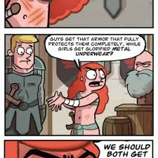 Video Game Logic Meme - girl s armor in video game logic by oglaf com comics