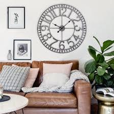Living Room Clocks Manhattan Industrial Wall Clock Analog Pewter 32
