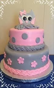 pink u0026 gray owl baby shower on cake central my cakes pinterest