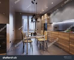 wooden modern kitchen modern kitchen interior design wooden facades stock illustration