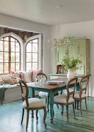 luxurious dining room design with large glass window and rectangle