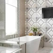 bathroom accent wall ideas black and white geometric wallpaper bathroom accent wall design ideas