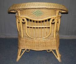 antique wicker chair with unique musical motif olde good things